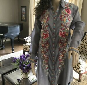JOHNNY-WAS-EMBROIDERED-CUPRA-RAYON-FLORAL-TUNIC-TOP-DRESS-XS-S-MED-WOMENS-268