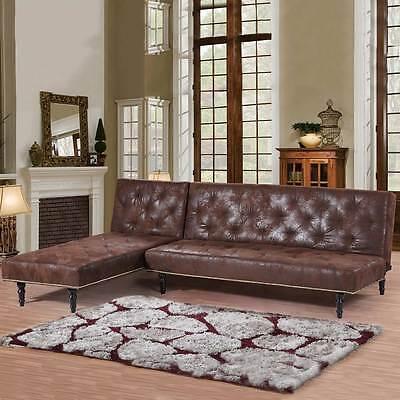 Victorian Antique Vintage Style L Shape Corner Brown 4 Seater Sofa Bed