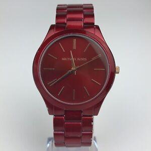 Michael-Kors-Slim-Runway-Women-039-s-Stainless-Steel-Watch-42MM-Red-MK3895-READ