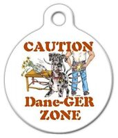 Dane -ger Zone Great Dane - Custom Personalized Pet Id Tag For Dog Collars