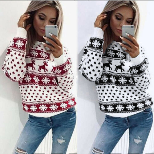 Women Xmas Christmas Floral Print Long Sleeve Blouse Top Sweatshirt