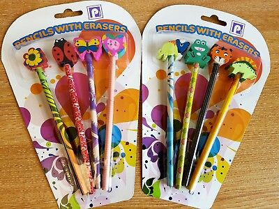 12 NOVELTY PIRATE PENCILS WITH ERASER PARTY LOOT BAG FILLERS FAVOURS