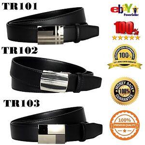 Men-039-s-Belt-Steel-Magnetic-Frame-Black-Leather
