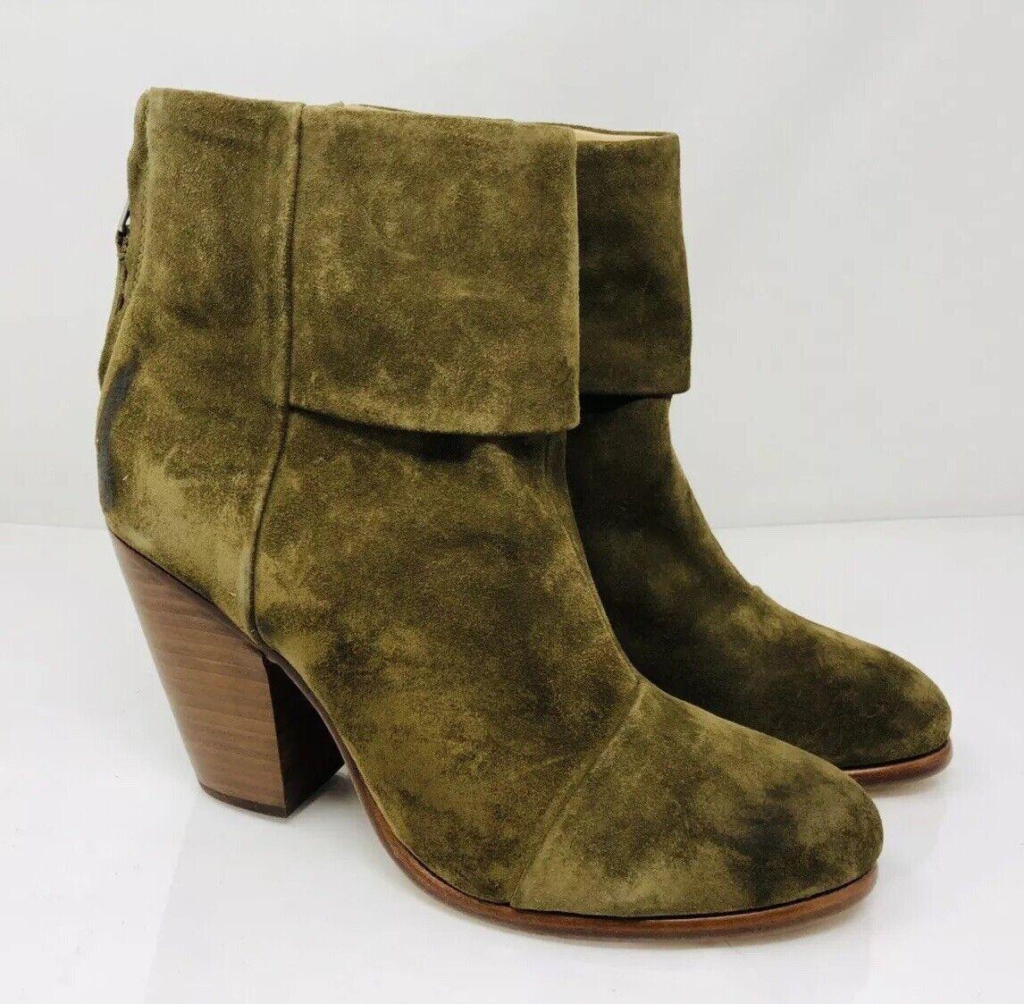 RAG & BONE Women's 'Newbury' Ankle Booties Size 38.5 Olive Suede, MSRP  475