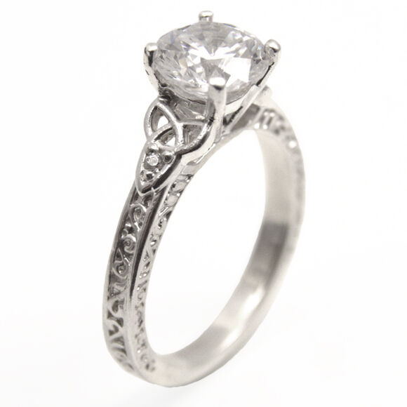 TRINITY Knot 1 5 ct Diamante Anello 4 4 4 Fermaglio argentoo Sterling (ss287) 990331