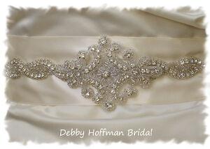 Beaded Rhinestone Crystal Bridal Sash No. 1162S - Made to Order