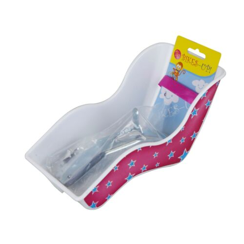 Bikes-Up Kids Bicycle Toy Doll Seat Carrier Pink Stars