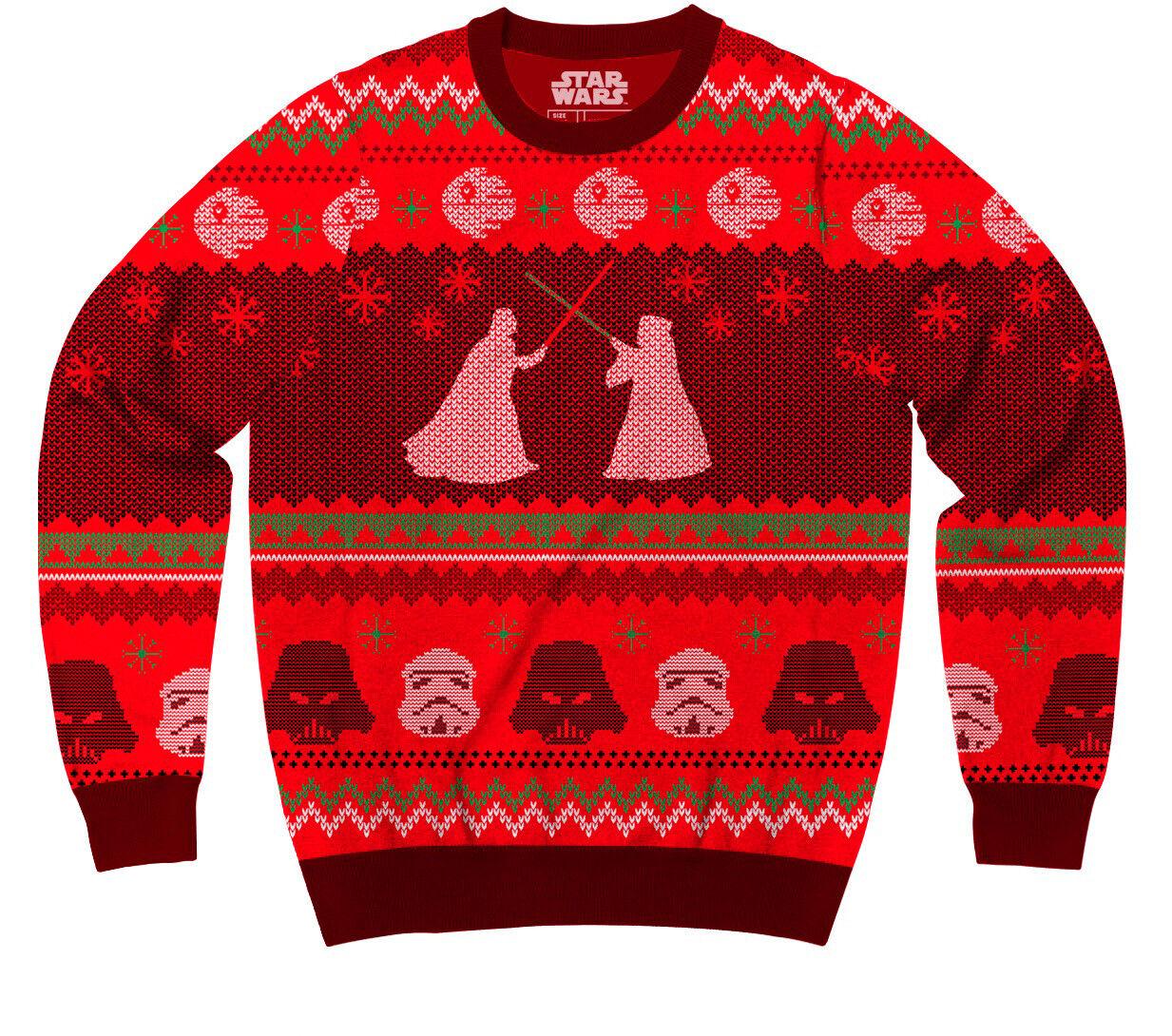 Adult Star Wars Death Star Lightsaber Showdown rot Ugly Christmas Xmas schweißer