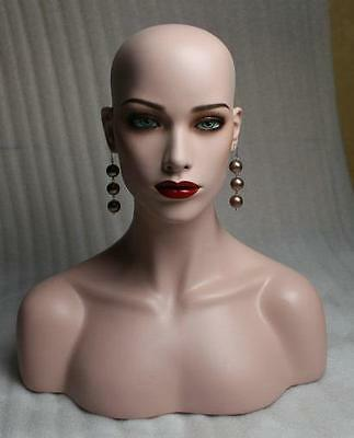 Earring Display Realistic Female Mannequin Head Bust For Wig And Hat