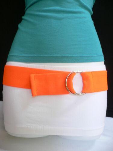 Women Belt Fashion High Waist Hip Stretch Fabric Bright Orange Color Size XS S M