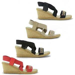 7a01abd99db4 Image is loading Shumo-MARIETTA-Ladies-Womens-Elasticated-Strappy-Wedge-Heel -