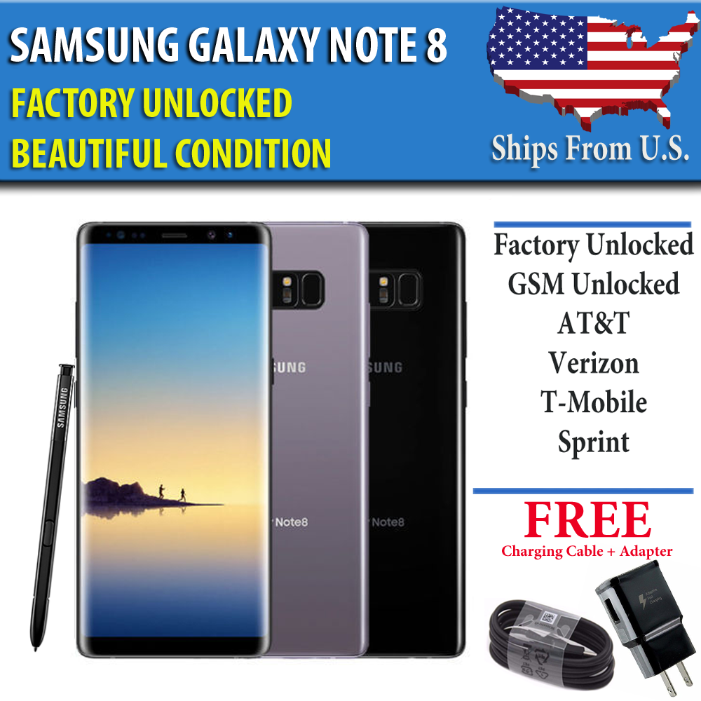 Samsung Galaxy Note 8 – 64GB- UNLOCKED (CDMA + GSM) Verizon AT&T T-Mobile Sprint