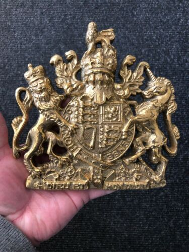 Royalist Polished Brass Royal Coat of Arms Sign Plaque Royal Crest Wall Hanger