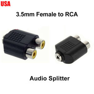 """RCA Female Jack to 3.5mm 1//8/"""" Stereo Male Plug Audio Converter Cable Adapter"""