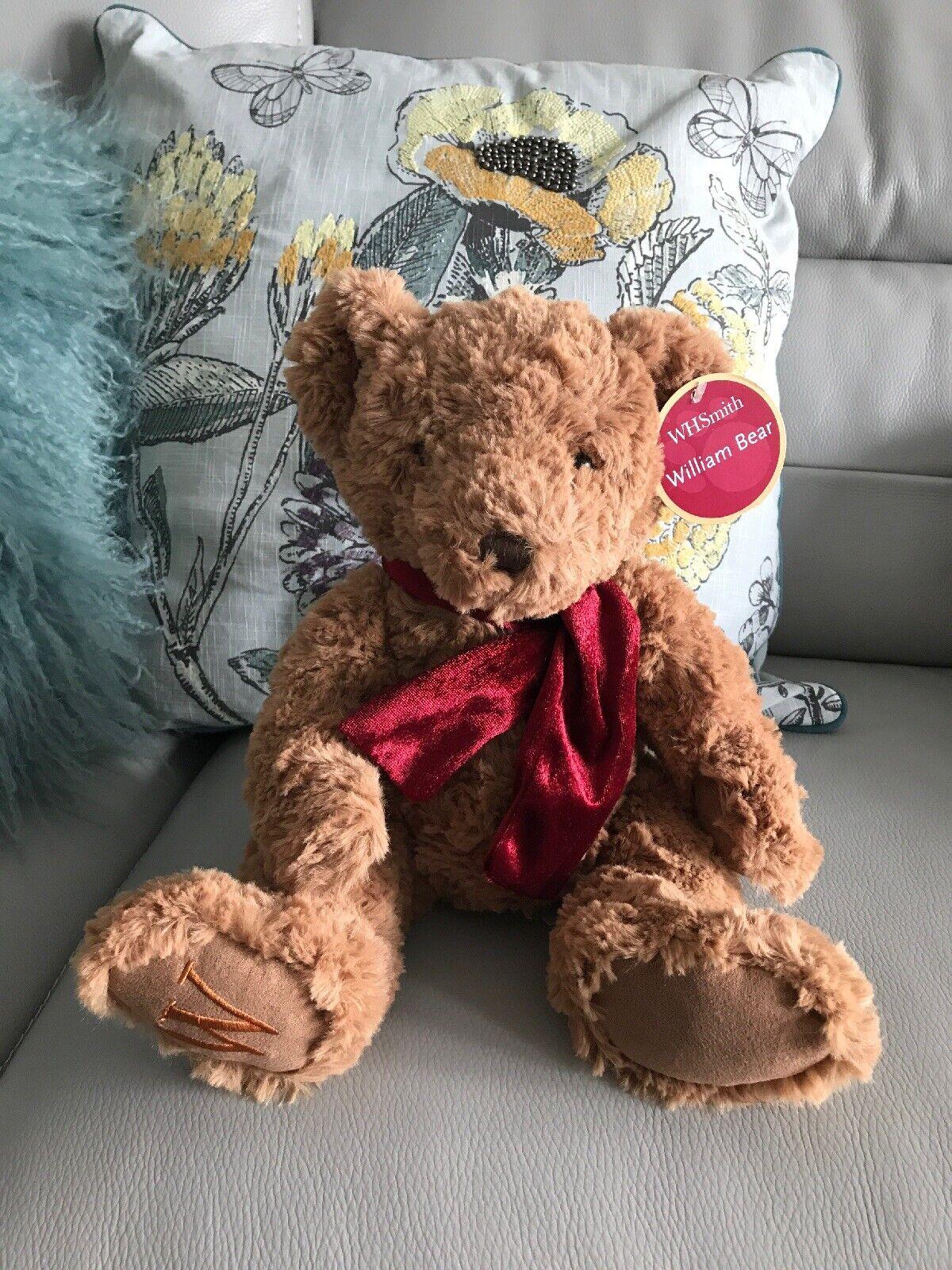 13  W H SMITH RED SCARF WILLIAM BROWN SOFT CUDDLY TOY TEDDY BEAR TAN