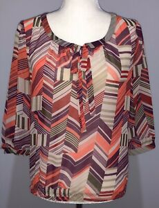 Banana-Republic-Womens-Sheer-Blouse-3-4-Sleeve-Pink-Purple-White-Size-XS