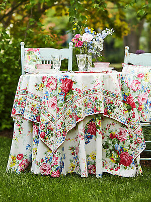 April Cornell Tablecloth Cottage Rose Collection 54x54 NWT 100/% Cotton Yellow