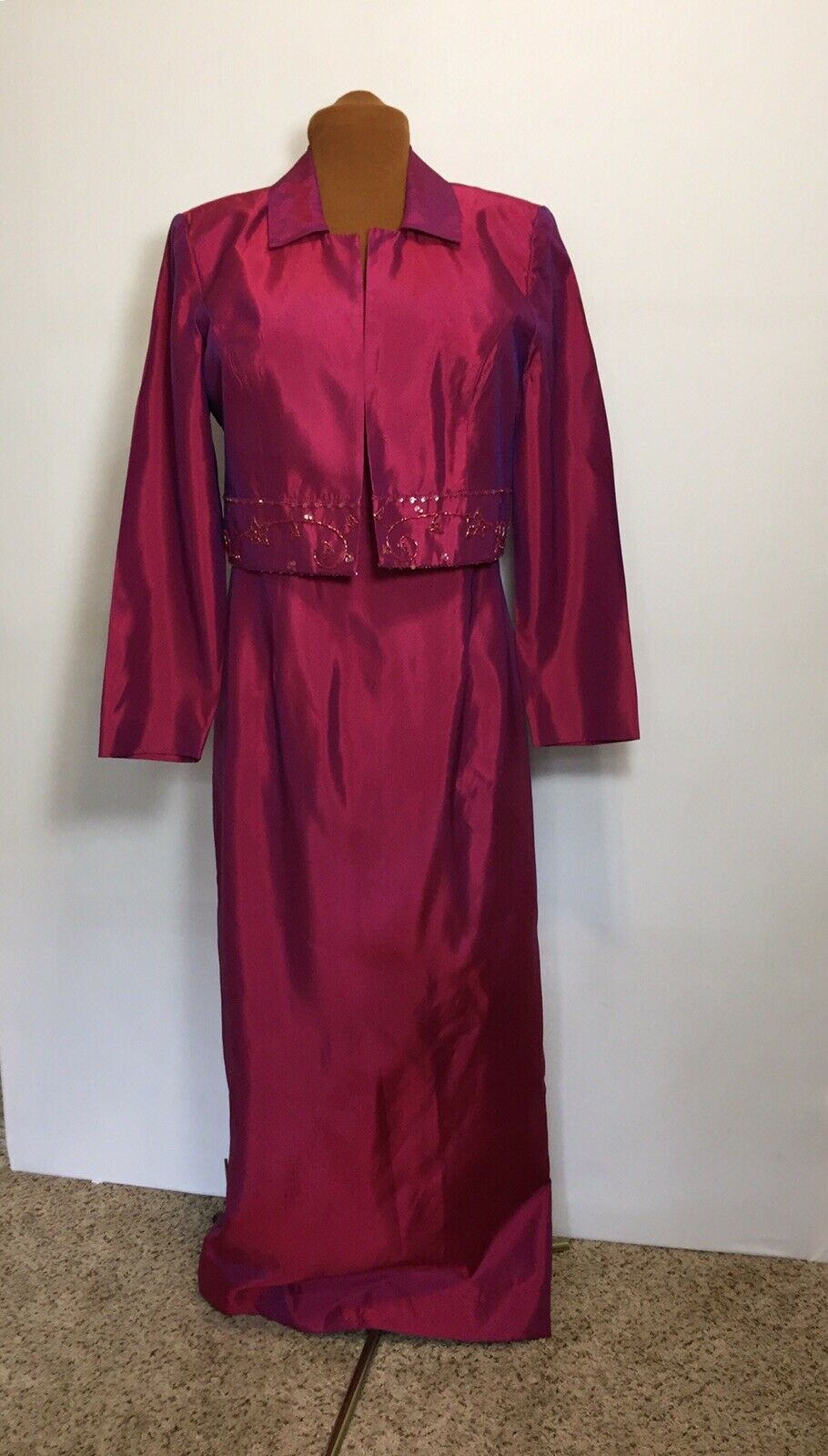 @Nite Collection Wine Colored Jacket Maxi Dress Mother Of Bride Size 12