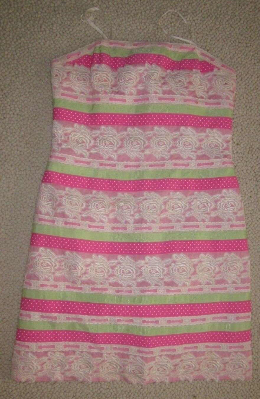 Lilly Pulitzer Pink Green White Ribbon Cotton Lace Lined Strapless Sz 8 Dress