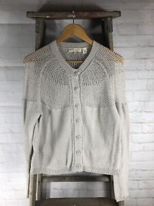 Inhabit-Cotton-Blend-Off-White-Cardigan-Sweater-Women-s-Size-Small-S