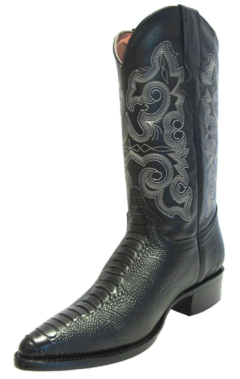 Mens New Leather Ostrich Leg Design Rodeo Western Cowboy boots J Toe Black