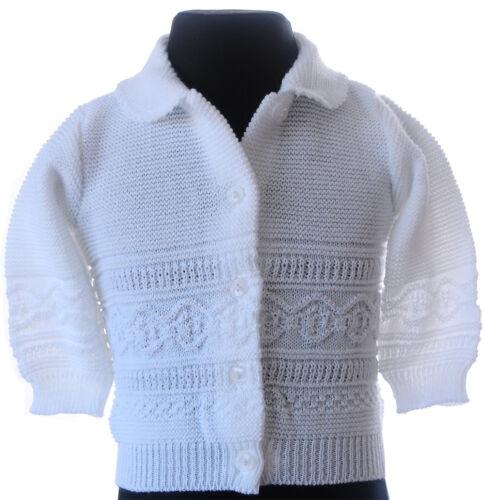 Jacke Baby Jäckchen Strickjacke Weiß Pulli Strickweste 56 62 68 74 Pullover