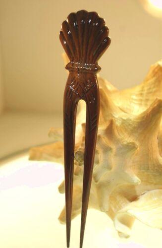 "1.25/"" X 1.5/"" Hawaiian Scallop Shell Genuine Koa Wood Hair Pick Stick 6 1//4/"" Long"
