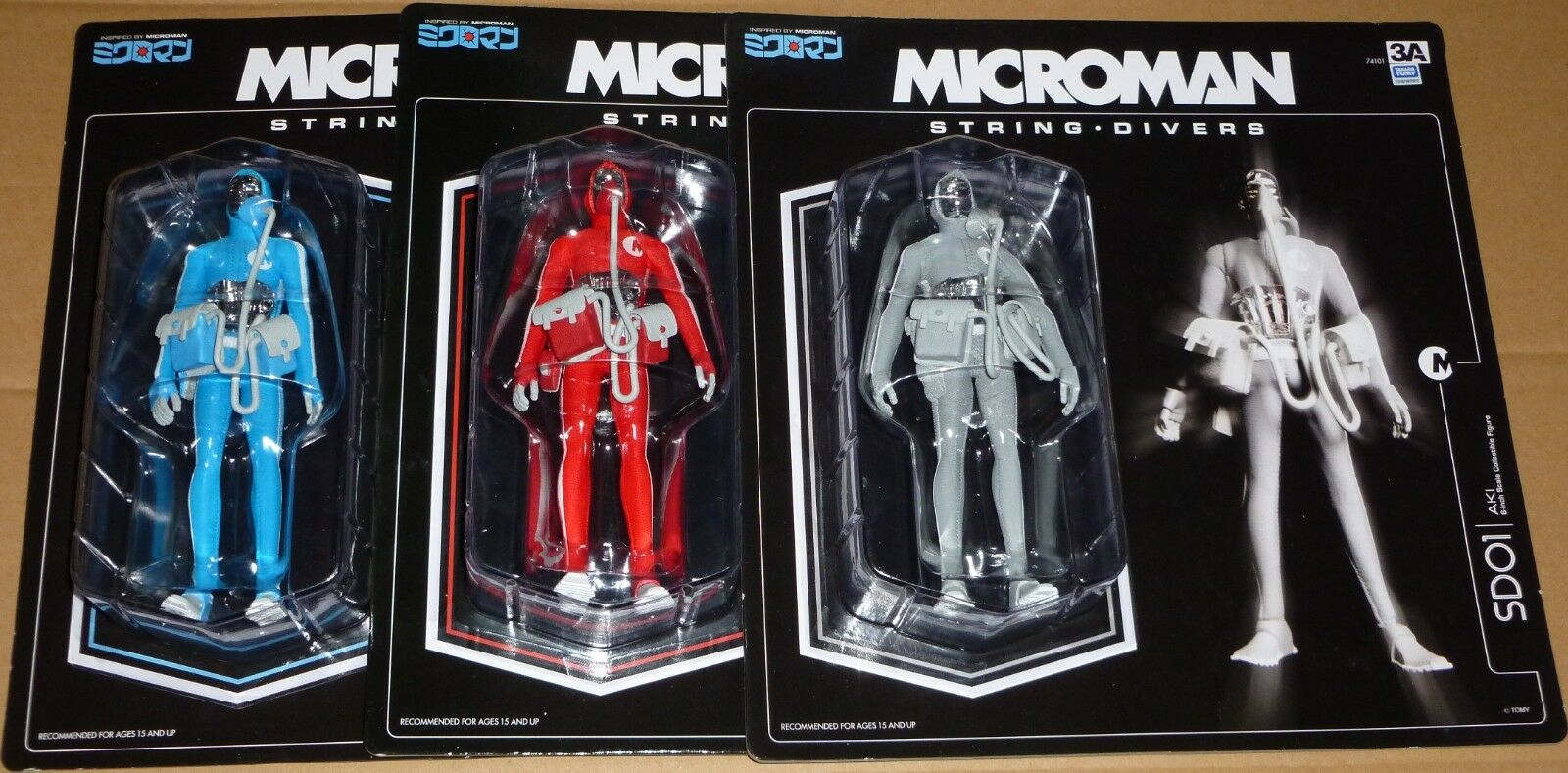 3A Microman String Divers SD01 AKI SD03 SD04 SAM Grey bluee Red Set Action Figure