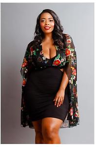 Plus Size Black Floral Mesh Sheer Cape Side Open Mini Dress 1X 2X 3X ...