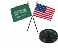 Usa American & Saudi Arabia Flags 4x6 Desk Set Table Black Base