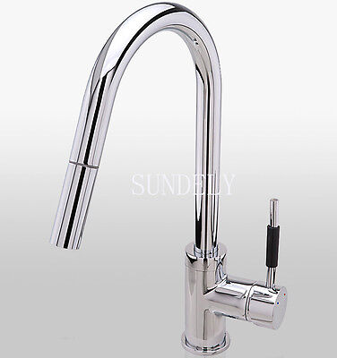 Monobloc brass Kitchen Tap Swivel Pull Out Spray Mixer Chrome Brushed Faucet