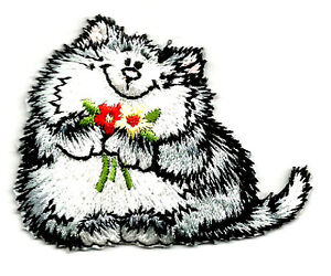 Cat-Kitten-Pet-W-Flowers-Embroidered-Iron-On-Applique-Patch