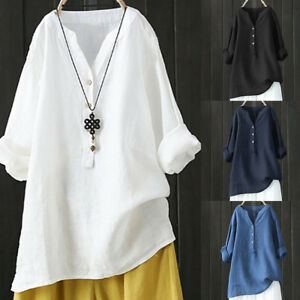 Women-Stand-Collar-Long-Sleeve-Shirt-Casual-Loose-Blouse-Button-Down-Tops-Tunic