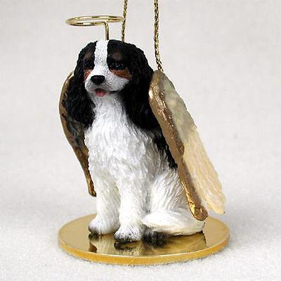 Cavalier King Charles Dog Figurine Angel Statue Hand Painted Black