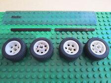 Lego 4 x White Hub Technic Wheels 30.4 14 VR + Black Rubber Tyre + 2 No 8 Axles