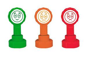 3 Self-inking Teacher Emoji Stamp Set - 3 Faces (Happy, Sad, Indifferent)