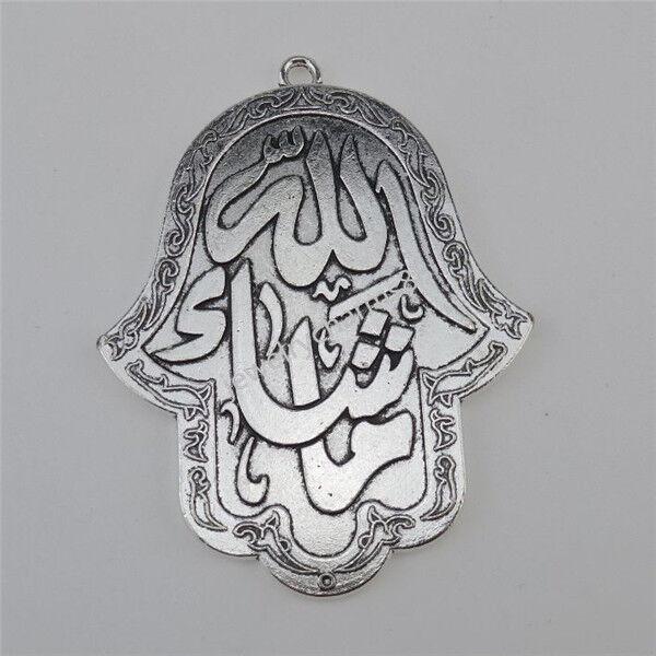 12568 2X Antique Silver Tone Alloy Hand of Fatima Hamesh Hand Hamsa Hand Pendant