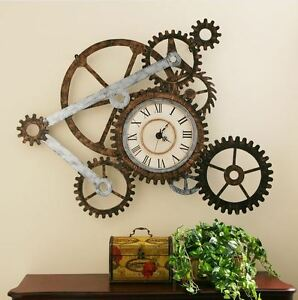 Vintage-Clocks-For-Walls-Art-Large-Retro-Rustic-Metal-Gears-Roman-Numeral-Home