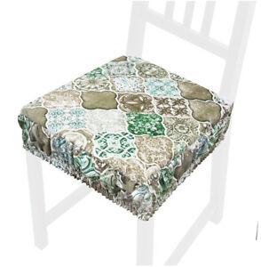 Cuscino sedia sfoderabile cotone lavabile fascia elastica coprisedia maiolica