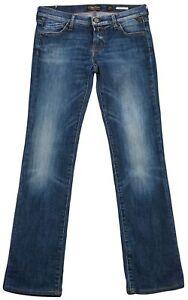 Detalles de Replay Vaqueros Azules Radell Mujer Slim Recto Baja Altura Pantalones W27 L34