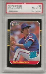 1987 DONRUSS #36 GREG MADDUX, PSA 8 NM-MT, ROOKIE, RC, HOF, CHICAGO CUBS, L@@K !
