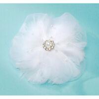 David Tutera Hair Comb Silk & Feather Flower Bridal Hair Comb – White - 4