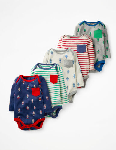 Mini Boden Baby Fun 5 Pack Robots /& Stripes Bodies Bodysuits £35 0-18//24Months