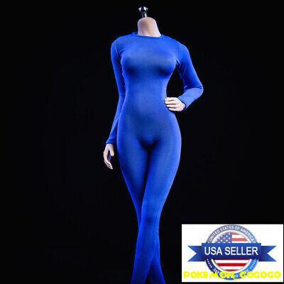 1//6 women black Slim Tights stretch suit Long Sleeve for phicen hot toys ❶USA❶