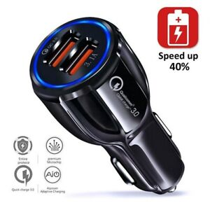 36W-Certified-Quick-Charge-Dual-2-USB-Port-Qc3-0-Fast-Car-Charger-Black-New
