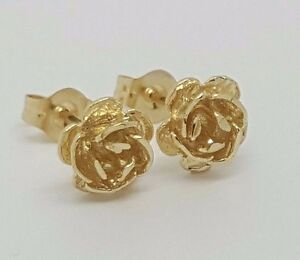 Details About 14k Solid Yellow Gold Rose Flower Stud Earrings Women Children Push Back 7 Mm