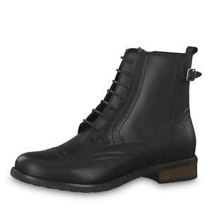 Details zu Tamaris Stiefel Stiefeletten Boots Budapester schwarz klassisch Leder