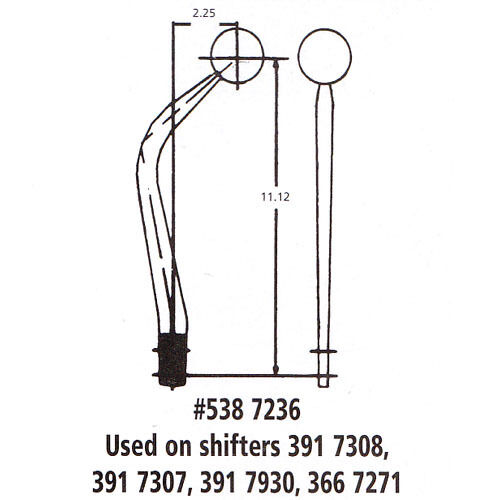 """Hurst 7236 Chrome Steel Replacement 11/"""" shifter Stick Handle for 3917307 3917308"""