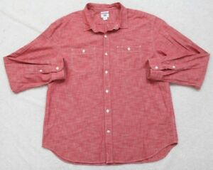 New-Old-Navy-Red-Dress-Shirt-XXL-Button-Up-Men-039-s-Top-Solid-Long-Sleeve-Slim-Fit
