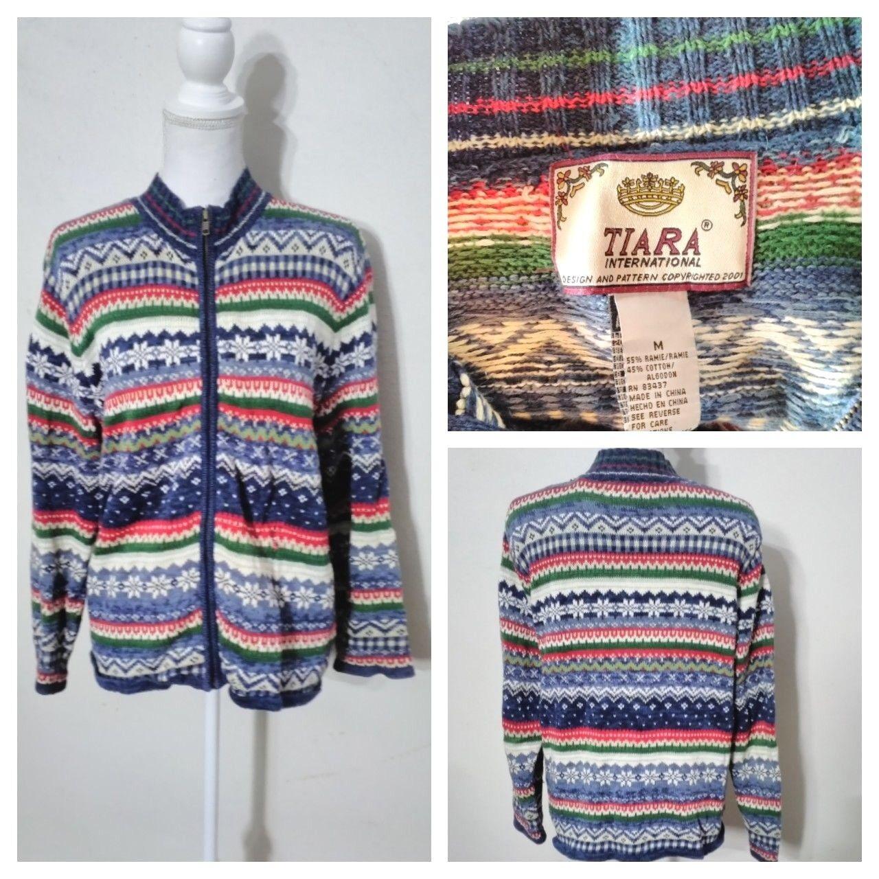 Tiara Heavy Sweater Women's M Multi-color Snowflake High Grade Inv S8304